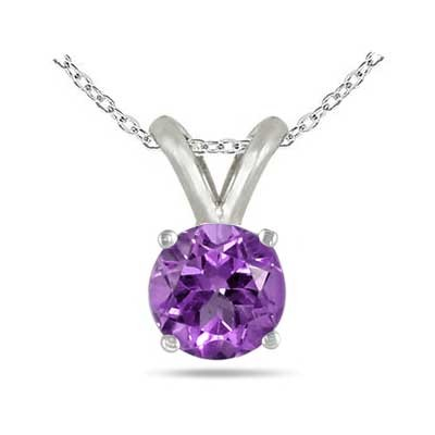 1.2Ct Round Amethyst Pendant in 14k White Gold