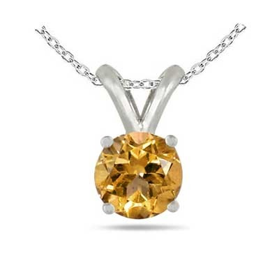 1.2Ct Round Citrine Pendant in 14k White Gold