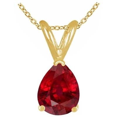 1.35Ct Pear Ruby Pendant in 14k Yellow Gold