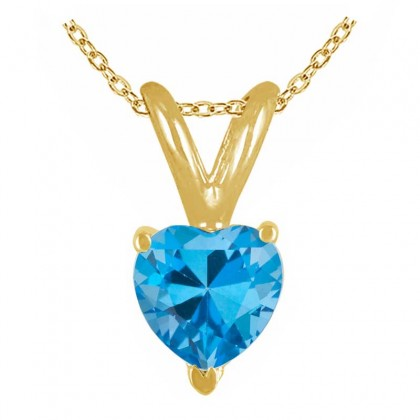 1.40Ct Heart Blue Topaz Pendant in 14k Yellow Gold