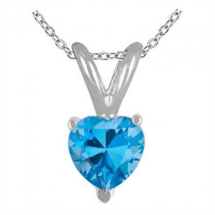 1.40Ct Heart Blue Topaz Pendant in Sterling Silver Gold
