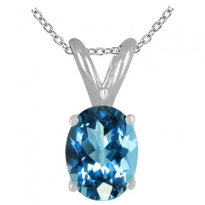 1.50Ct Oval Blue Topaz Pendant in 14k White Gold
