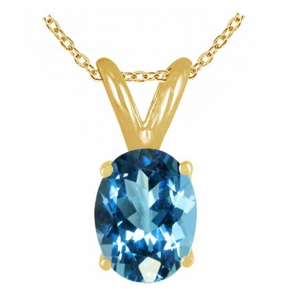 1.50Ct Oval Blue Topaz Pendant in 14k Yellow Gold