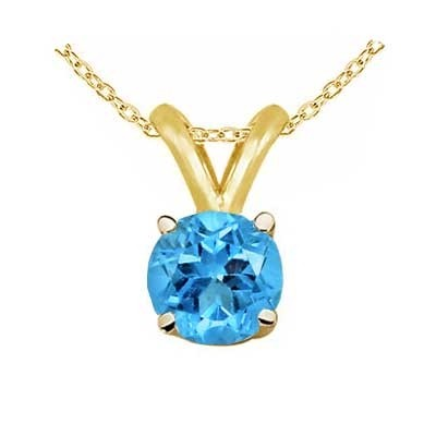 1.5Ct Round Blue Topaz Pendant in 1.54k Yellow Gold