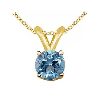 1Ct Round Aquamarine Pendant in 14k Yellow Gold