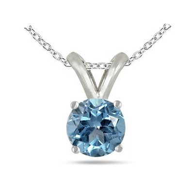 1Ct Round Aquamarine Pendant in Sterling Silver Gold