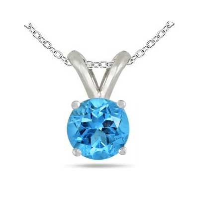 1Ct Round Blue Topaz Pendant in Sterling Silver Gold