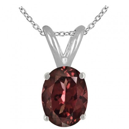 2.00Ct Oval Garnet Pendant in Sterling Silver Gold