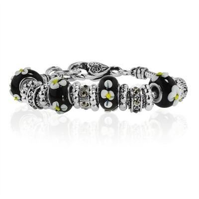Black Flower Murano Glass Type Beed and Crystal Bracelet, 7.5""