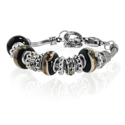 """Black Murano Glass Type Beed and Crystal Bracelet, 7.5"""""""