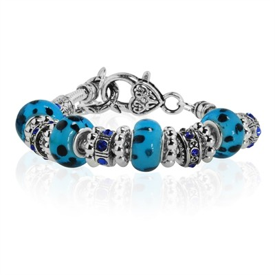 Blue and Black Dotted Murano Glass Type Beed and Dark Blue Crystal Bracelet, 7.5""