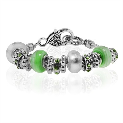 """Green and Silver Murano Glass Type Beed and Green Crystal Bracelet, 7.5"""""""