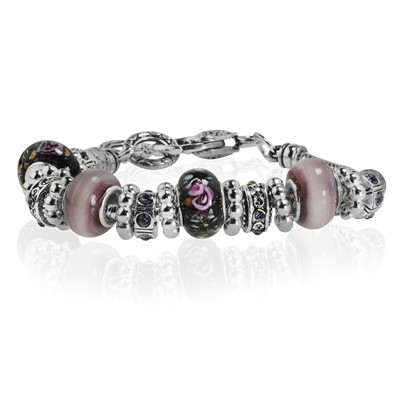 """Pink and Black Murano Glass Type Beed and Purple Crystal Bracelet, 7.5"""""""