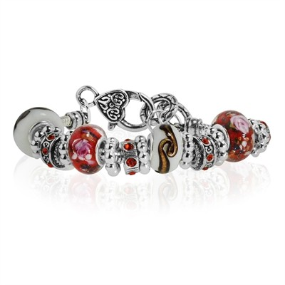 Red and White Murano Glass Type Beed and Red Crystal Bracelet, 7.5""