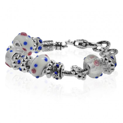 """White Murano Glass Type Beed and Blue Crystal Bracelet, 7.5"""""""