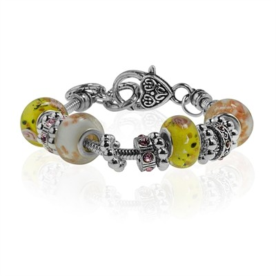 """Yellow Murano Glass Type Beed and Pink Crystal Bracelet, 7.5"""""""