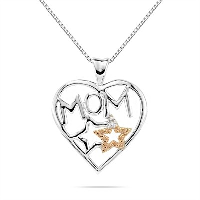 Mom Diamond Pendant in .925 Sterling Silver
