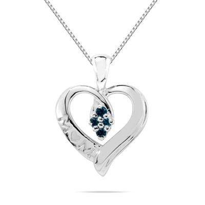 Blue Diamond Mom Pendant in 10K White Gold