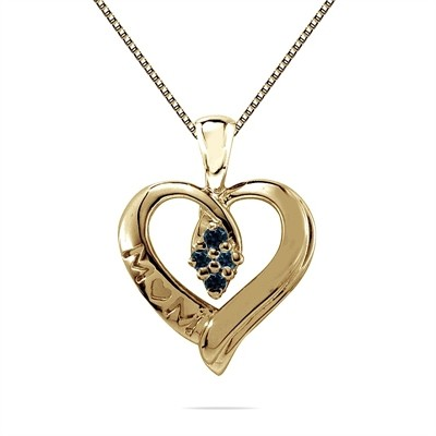 Blue Diamond Mom Pendant in 10K Yellow Gold