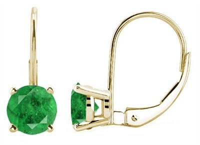 0.86Ct Round Emerald Leverback Earrings in 14k Yellow Gold