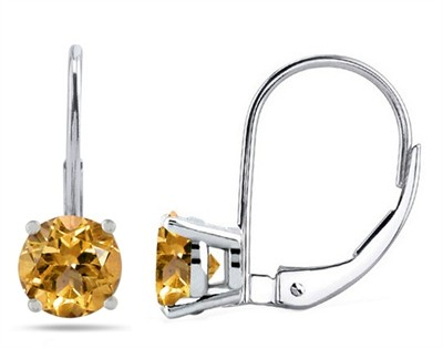 0.9Ct Round Citrine Leverback Earrings in 14k White Gold