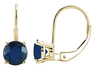 0.74Ct Round Sapphire Leverback Earrings in 14k Yellow Gold