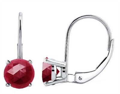 1.2Ct Round Ruby Leverback Earrings in 14k White Gold