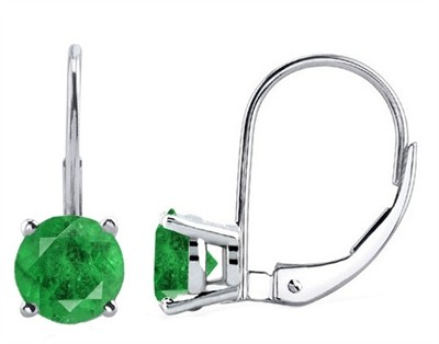0.86Ct Round Emerald Leverback Earrings in 14k White Gold