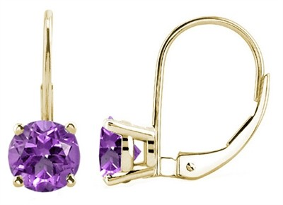 0.9Ct Round Amethyst Leverback Earrings in 14k Yellow Gold