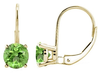 0.56Ct Round Peridot Leverback Earrings in 14k Yellow Gold