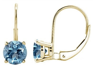 3.14Ct Round Aquamarine Leverback Earrings in 14k Yellow Gold