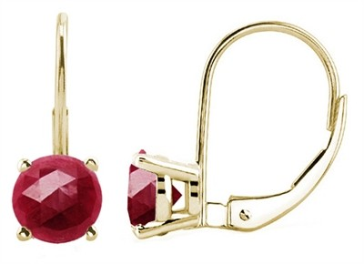 1.2Ct Round Ruby Leverback Earrings in 14k Yellow Gold