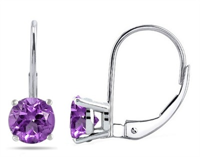 0.9Ct Round Amethyst Leverback Earrings in 14k White Gold