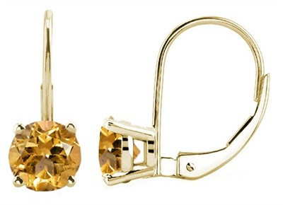 0.9Ct Round Citrine Leverback Earrings in 14k Yellow Gold