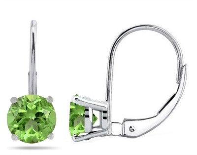 0.9Ct Round Peridot Leverback Earrings in 14k White Gold
