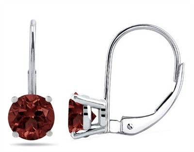 4Ct Round Garnet Leverback Earrings in 14k White Gold