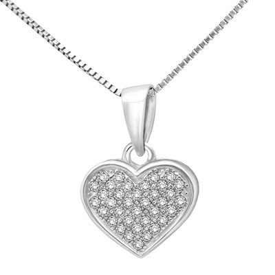 1/10 Ct White Diamond Heart Pendant In Sterling Silver