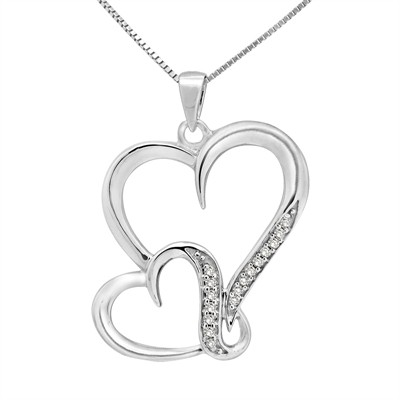 1/10Ct White Diamond Double Heart Pendant In Sterling Silver