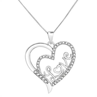 1/10Ct White Diamond Love Heart Pendant In Sterling Silver