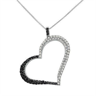 1/3 Ct Black And White Diamond Heart Pendant In Sterling Silver