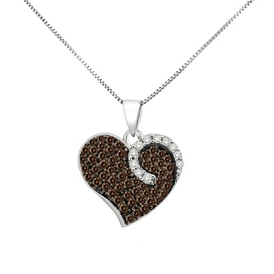 3/4Ct White and Brown Diamond Heart Pendant in Sterling Silver