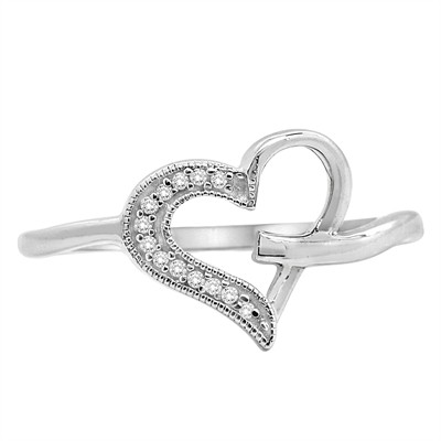 0.05Ct White Diamond Heart Ring in Sterling Silver
