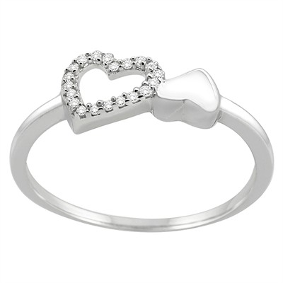 0.07CT Diamond Heart Ring in Sterling Silver