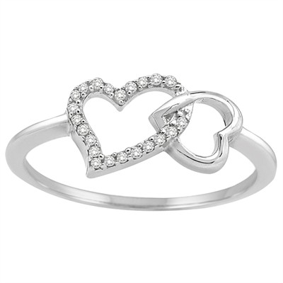1/10CT White Diamond Double Heart Ring in Sterling Silver