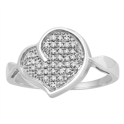 1/10Ct White Diamond Pave Heart Ring In Sterling Silver