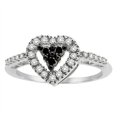1/3Ct Black and White Diamond Heart Ring in Sterling Silver