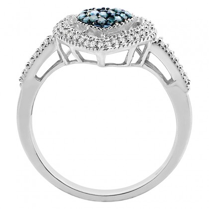 1/4 Ct Blue and White Diamond Heart Ring in Sterling Silver