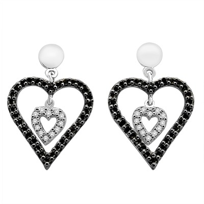 1/2 Ct Black and White Diamond Double Heart Earring in Sterling Silver