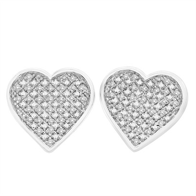 DEAL OF THE DAY -- 1/6 Ct White* Diamond Pave Heart Earring in Sterling Silver