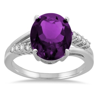 Oval Shaped Amethyst and Diamond Ring in 10K Gold